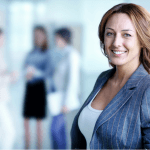 Female business manager in a suit