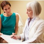 Female patient and female healthcare provider discussing results