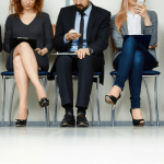 Five job applicants waiting for an interview