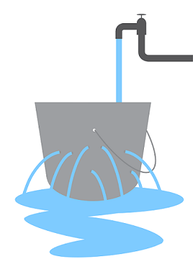 Leaky buckets filling with water