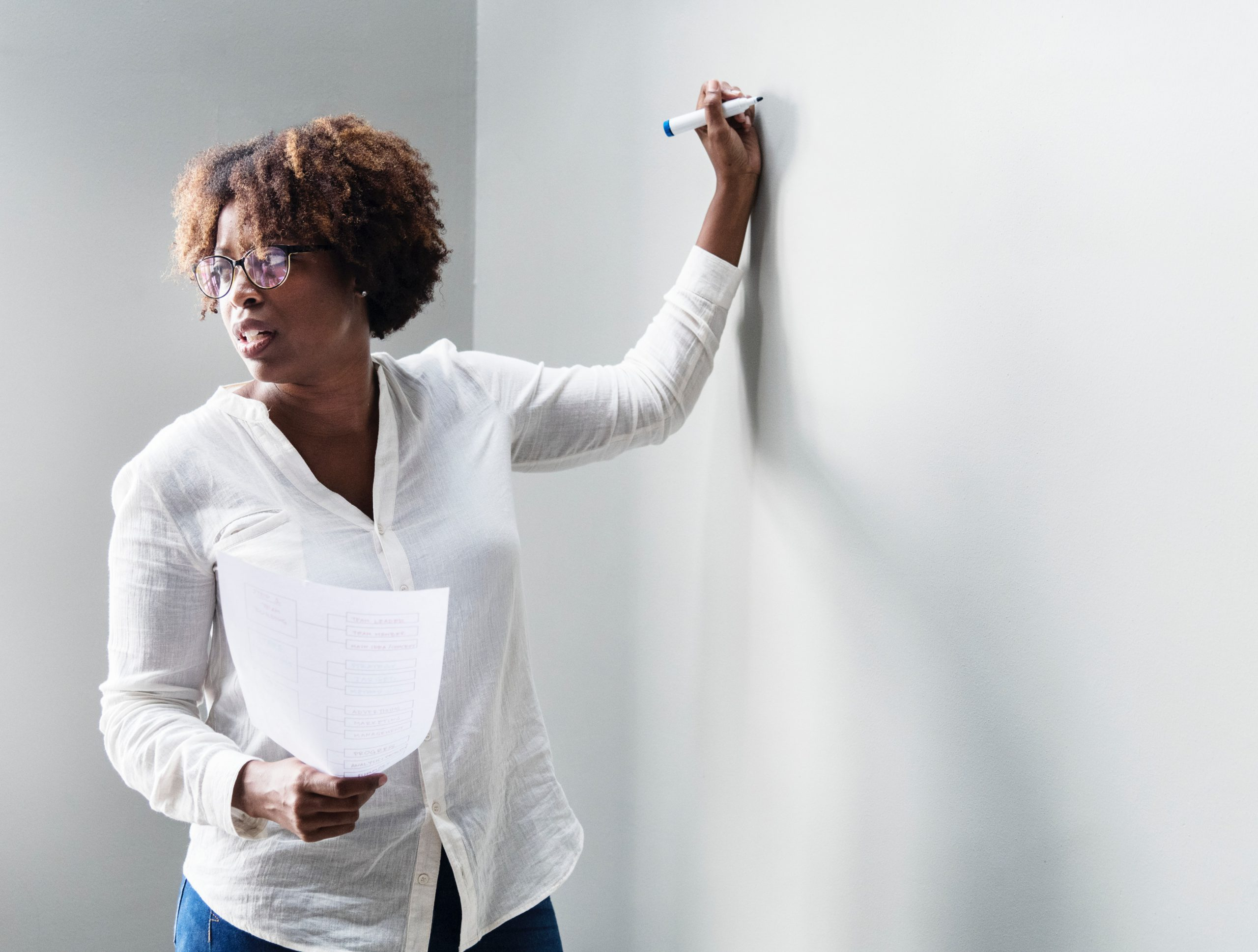 Adult Trainer writing on white board