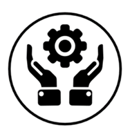 hands holding a gear icon
