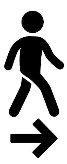 Person walking to the right above right arrow icon