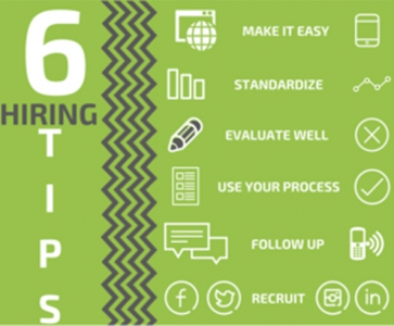 6 Hiring Tips: Make it Easy, Standardize, Evaluate Well, Use Your Process, Follow Up, Recruit