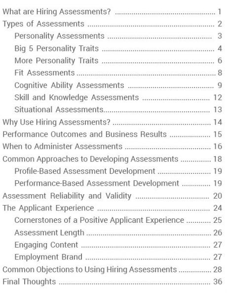Table of contents for Corvirtus Hiring Assessments eBook