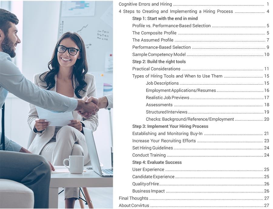 Table of contents for Corvirtus e-Book How To Build A Hiring Process