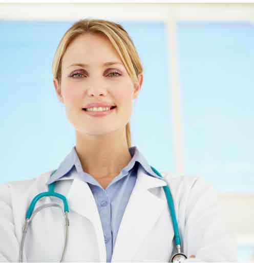 Confident female physician