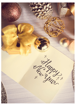 Happy New Year card with decorations