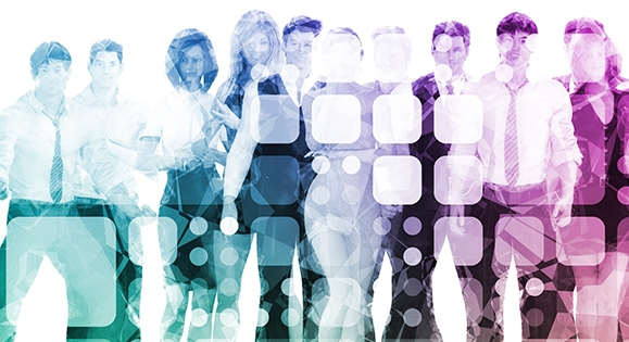 Image of men and women employees with a geometric design overlay