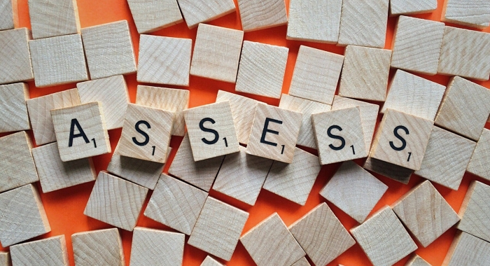Assess spelled out in wooden titles