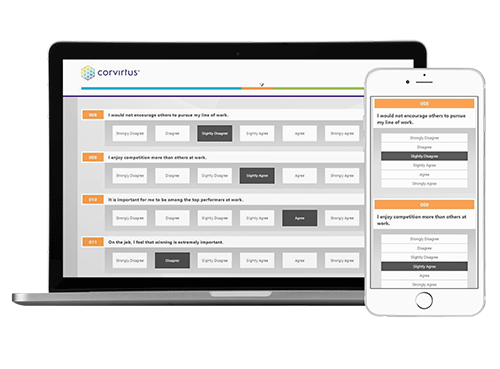 Corvirtus mobile-responsive assessments on mac and iphone