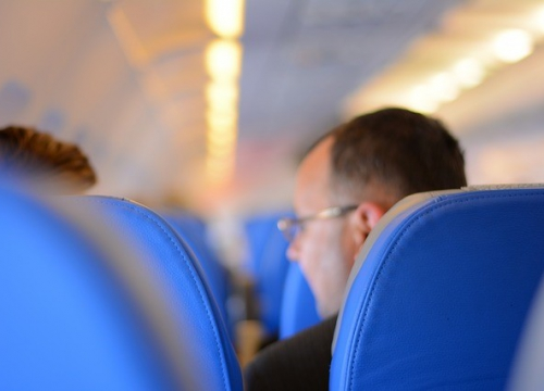 Man sitting on plane