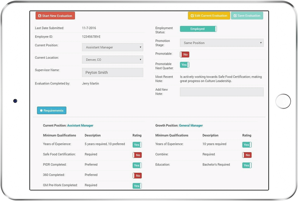 A manager's view of the Corvirtus Succession Tracker's employee minimum requirements form on a tablet